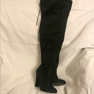 Size 8M Black Faux Suede Over The Knee Boots